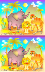 Exercises for young children - need to find 6 differences. Developing skills for counting. Vector cartoon image.
