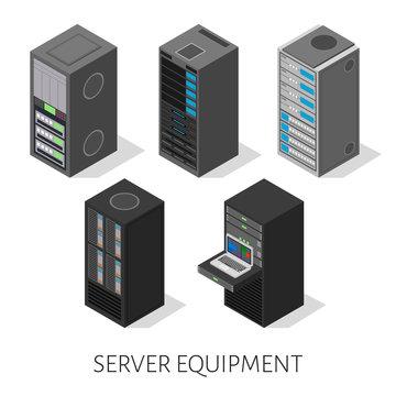 isometric set server equipment isolated background