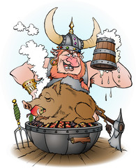 Vector cartoon illustration of a viking invites to party