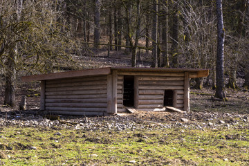 Wooden shelter for wildlife animals