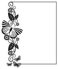 Black and white silhouette frame with butterflies