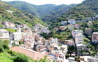 Looking up to Riomaggiore, small Italian riviera town