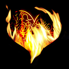 Fire heart on black background