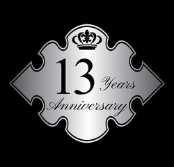 13 anniversary silver emblem with crown