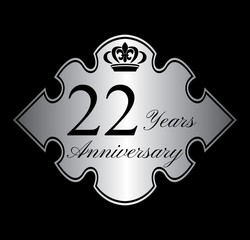 22 anniversary silver emblem with crown