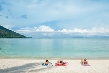 sea beach blue sky sand sun daylight relaxation landscape ,Thailand