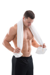 Strong Man Holding Towel Around Neck