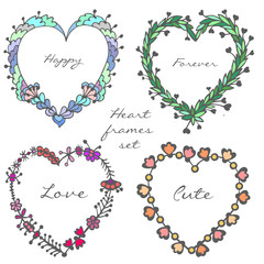 Set of doodle colorful hearts frames. Vector illustration. Love, romantic, Valentines Day
