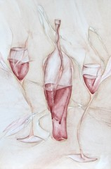 Illustration of wine in the bottle and by glass in watercolor technique.