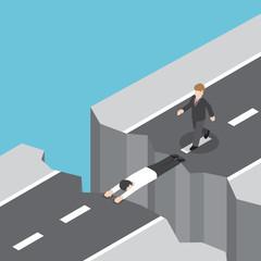 Businessman use himself as a bridge to pass a gap on the mountai