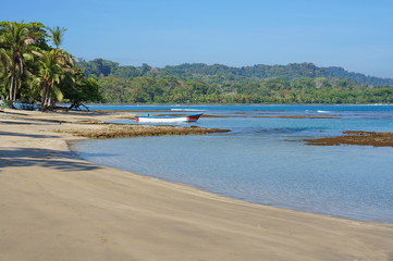 Peaceful beach on Caribbean coast of Costa Rica