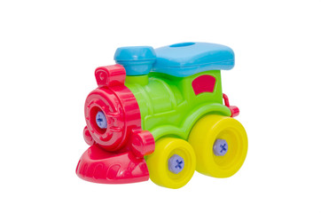 Plastic train toy isolated over white