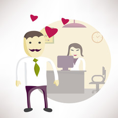 Man office manager in love with a woman in the office. Concept f