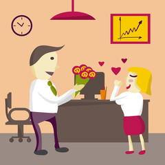 Love in office. Man Manager gives flowers woman in the office on
