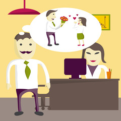 Love in office. Man manager wants to give flowers to a woman in