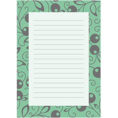 Notepaper page with floral background