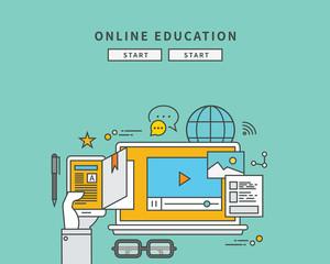 simple color line flat design of online education, modern vector illustration