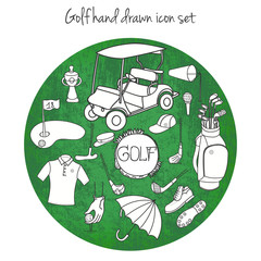 Collection of various stylized hand drawn Golf icons, Golf Equipment vector illustration for card templates, golf clubs, golf course background