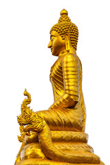 Golden Buddha on a white background.