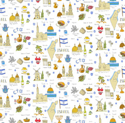 Seamless background, set of hand drawn Israel icons, Jewish sketch illustration, doodle elements, Isolated national elements made in vector. Travel to Israel icons for cards and web pages