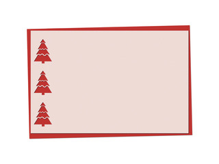 Christmas red card with fir-tree and christmas openwork, lacy, patten, rewattled ornament  isolated on white background