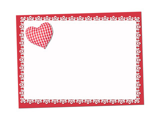 Holiday delicate, lacy card. St. Valentines day. Confess his love,  declaration of love, Invitation, decorated plaid fabric heart. Isolated on the white.