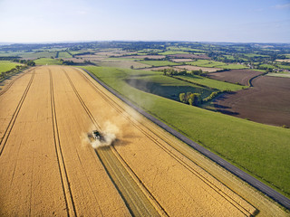 Scenic aerial landscape view of combine harvester in barley field