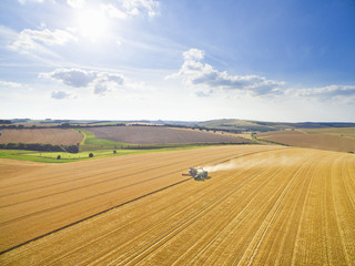 Scenic aerial landscape view of combine harvester and tractor in sunny golden barley field