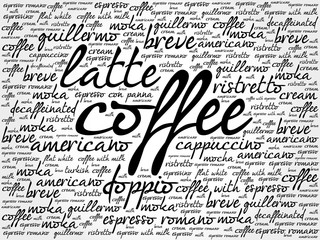 List of coffee drinks words cloud, poster background