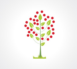 Abstract apple tree flat icon. Logo element for your design.