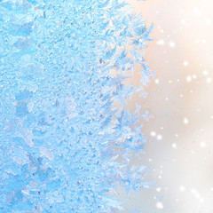 abstract winter ice patterns on window, Christmas background, cl