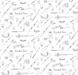 Seamless background of hand drawn dental care icons, Dental symbols, Dental floss, teeth, mouth, tooth paste, tooth brush, dentist instruments doodle icons, sketch, brilliant smile, tooth wash