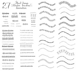 Set of hand drawn floral decorative vector brushes with inner and outer corner tiles. Dividers, borders, ornaments. Sketch, decoration doodle elements, Natural vector brushes.