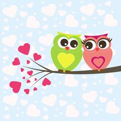 Wall Murals Birds, bees owl lovers valentine vector
