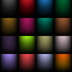 Set of colored backgrounds with a radial gradient