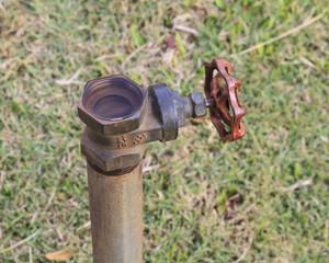 Plumbing valve and metal pipe in garden