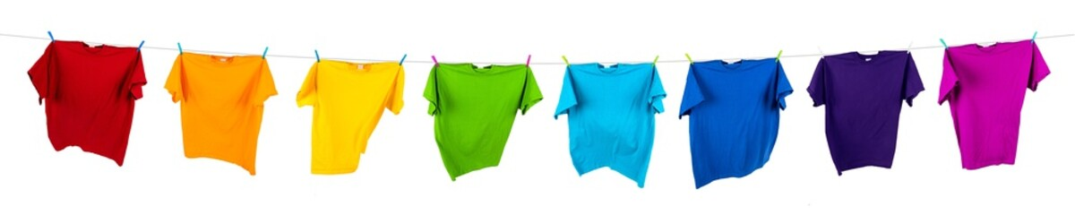colorful tshirts on washing line