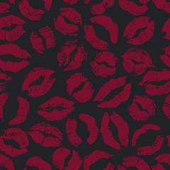 Seamless pattern with lipstick kisses.