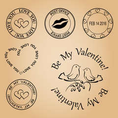 set of stamps for valentine day - vector elements