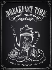 Vintage Poster. Breakfast time. Coffee/tea and bakery