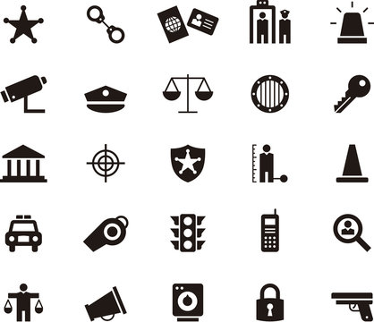 POLICE & LAW ENFORCEMENT glyph flat icons