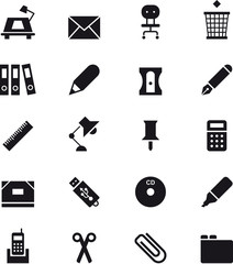 SCHOOL & OFFICE SUPPLIES black icons pack