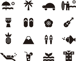 HAWAII black icons pack