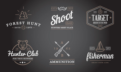 Set of Vector Hunting Camping Sport Elements Illustration can be used as Logo or Icon in premium quality