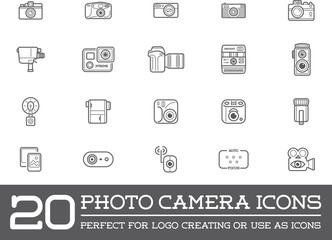Set of Vector Photo Camera Photography Elements and Video Camera Icons Illustration can be used as Logo or Icon in premium quality