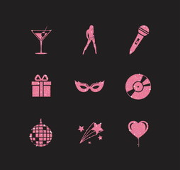 A collection of sparkling pink glitter stylized fancy night club and party icons for flier, banner, typography, web, design.