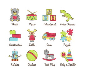 A collection of colorful modern cartoon outlined icons for various toys' kinds and categories for kids, babies and toddlers, boys and girls. For web, presentations, stickers, etc.