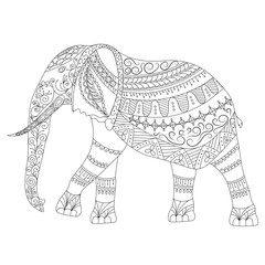 Zentangle Elephant doodle on white background.Graphic illustration vector zentangle ready for coloring.