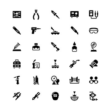 Set icons of welding and soldering