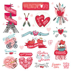 Valentines day design,labels, icons elements.Doodles